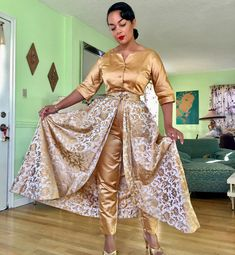 """2,673 Likes, 72 Comments - Lydia 1940s (@lydia1940s) on Instagram: """"Beautiful hostess jumpsuit set by """"Dynasty made in Hong Kong British Crown Colony"""". The Jumpsuit…"""""""