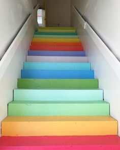 Painting rainbow stairs is more complicated than you would think. by ohhappyday Stairs Colours, Wall Colors, Paint Colors, The Light Is Coming, Attic Playroom, Sky Aesthetic, Upcycled Crafts, Paint Designs, Happy Day
