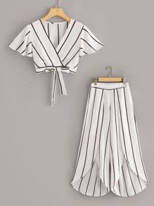 To find out about the Surplice Neck Stripe Top & Split Wide Leg Pants Set at SHEIN, part of our latest Two-piece Outfits ready to shop online today! Girls Fashion Clothes, Teen Fashion Outfits, Mode Outfits, Barbie Clothes, Girl Fashion, Fashion Dresses, Peplum Dresses, Fashion Sets, Dress Pants