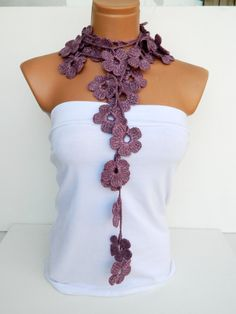 Hand made crochet Pink Flower Lariat Scarf by WomanStyleStore, $25.00