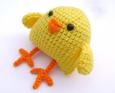 Crochet Easter Chick Amigurumi Bird Decoration by PrissysPlace