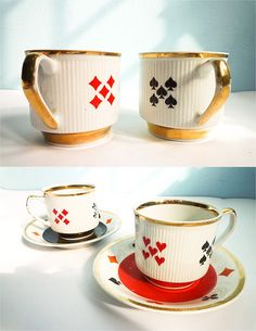 Set of 2 coffee tea cups poker bridge playing cards
