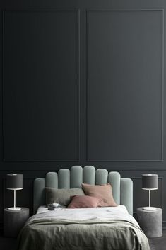 sea-foam headboard // black bedroom walls