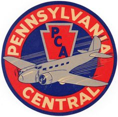 Pennsylvania Central Airlines luggage label, 1930s