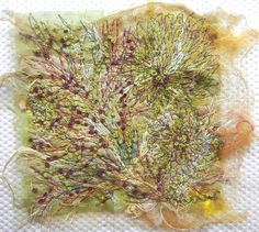 "Created with fabrics, fibres, threads, free motion stitching and water soluble stabilizer. 6"" x 6"""