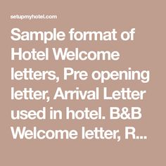 Teacher welcome letter teacher community and group sample format of hotel welcome letters pre opening letter arrival letter used in hotel spiritdancerdesigns Gallery