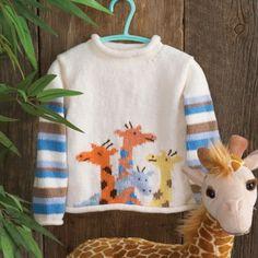 Mary Maxim - Knit & Crochet Cardgians, Sweaters for Kids Giraffe hand knit Baby Boy Sweater, Knit Baby Sweaters, Knitted Baby Clothes, Baby Knitting Patterns, Baby Patterns, Cardigan Bebe, Baby Cardigan, Cardigan Pattern, Crochet For Boys