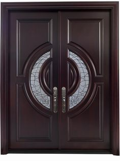 """Crescent"" Mahogany double entry doors with rosewood finish and black caming"
