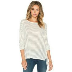Vince. Striped Tissue Shirt Insanely comfortable tissue tee! Great for layering. Back is slightly longer than front (see picture 1).   + 70% lyocell  + 30% cotton   FINAL PRICE Vince Tops Tees - Long Sleeve