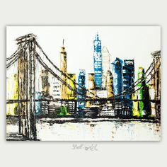 Original NYC art Modern oil on canvas  Abstract Painting Art New York City Art Home decor