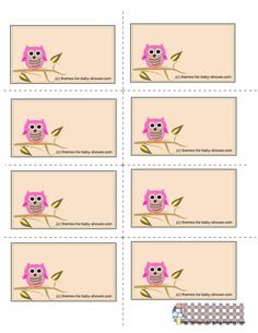 free printable owl themed labels for girl baby shower