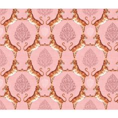 Cats Fabric - Big Cat Damask (In Rose Quartz) Custom Fabric By Nouveau Bohemian - Cats Cotton Fabric by the Yard with Spoonflower Crib Sheets, Crib Bedding, Rose Quartz Serenity, Cat Fabric, Color Of The Year, Pantone Color, Big Cats, Custom Fabric, Damask