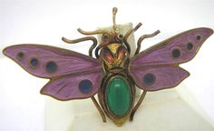 Victorian Marked Czech Butterfly Moth Insect Enamel & Chrysoprase Brooch Pin
