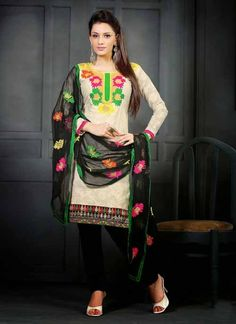 Ravishing Black & Cream Cotton Based #Salwar #Suit With Resham Work #churidarsuits #ethnicwear #womenapparel #womenfashion