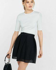 black mesh high waisted full pleated skirt