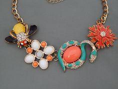"Couture Rhinestone Enamel Cab Bee Snake Flower Runway Statement Necklace 22""adj #Statement"