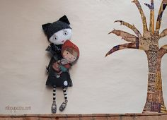 Red Riding Hood Art Doll Brooch mixed media collage by miopupazzo, $27.00
