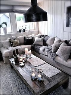 Totally swooning over this cozy chic living room! The different shades of grey a. Totally swooning over this cozy chic living room! The different shades of grey against a light couch brings a modern twist to your home decor. Cozy Living Rooms, My Living Room, Apartment Living, Home And Living, Small Living, Cottage Living, Living Area, Cozy Apartment, Apartment Ideas