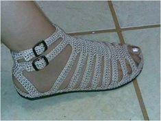sandalia em croche feita com chinelo - Pesquisa Google