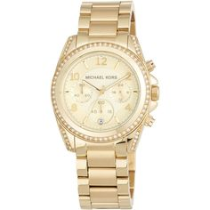 Michael Michael Kors 39mm Mini Blair Glitz Chronograph Bracelet Watch (¥24,225) ❤ liked on Polyvore featuring jewelry, watches, gold, dial watches, stainless steel watches, bracelet watch, stainless steel jewelry and watch bracelet