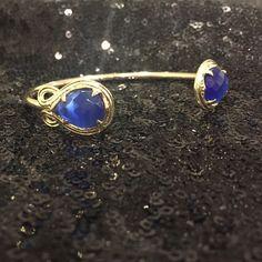 Kendra Scott Andy Cuff Cobalt blue cat's eye stones set in gold tone hardware Kendra Scott Jewelry Bracelets