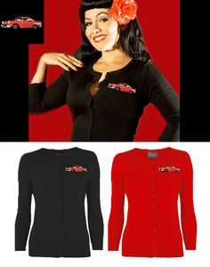 """NEW - Classsic Chevy Cardigan in red or black by Viva Dulce Marina - Don't forget to get 10% off each AYP order you place by using our """"school12"""" code at checkout."""