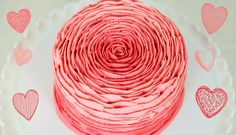 Pretty Buttercream Rose Cake Decorating - How to smooth buttercream, mix ombra frosting and make this lovely cake.