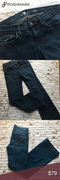 7fam DOJO's w crystal pockets (7 for all mankind) 7 for all mankind Dojo boot cut jeans with crystal details on the back pockets. All are intact. Jeans are in great shape. Dark wash. Long flattering lines. See why these are a celeb fave! Sz 29. 7 For All Mankind Jeans Boot Cut