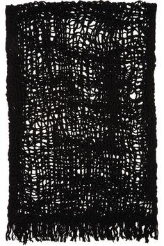b5058e8c8874b Yohji Yamamoto - Black Wool Open Knit Stole Yohji Yamamoto