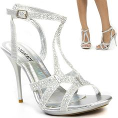 Sexy Silver Crystal Glitter Strappy Wedding Bridal Prom Evening Heel Sandal 8 in Clothing, Shoes & Accessories | eBay