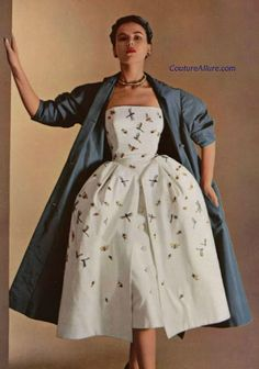 ef9e69a1c13 1951 - Christian Dior designed this white pique dress embroidered with  insects.  coutureallure Vintage