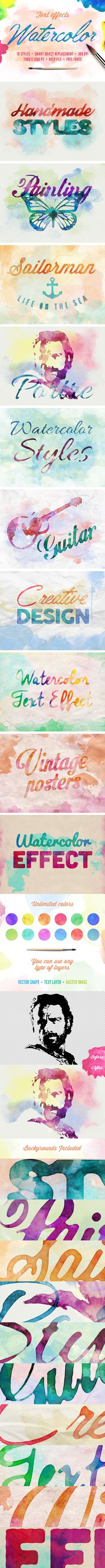 Watercolor Text Effects for Photoshop. Download here: http://graphicriver.net/item/watercolor-text-effects/11199799?ref=ksioks
