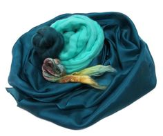 Nuno felting Silk scarf Kit, Teal, antille and pastels