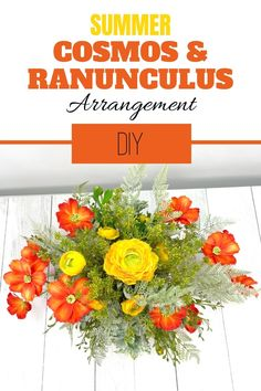 Make a DIY Summer Cosmos & Ranunculus artificial flower arrangement for your entryway or your living room. Decorating with flowers is fun! Our wreath of the month club has over 100 video tutorials, including this one. Click to learn more. #wreathmaking #diy #southerncharmwreaths Artificial Flower Arrangements, Artificial Flowers, Full Sun Garden, Do It Yourself Crafts, Summer Diy, Summer Wreath, How To Make Wreaths, Ranunculus, Video Tutorials