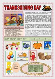 English Worksheets: THANKSGIVING DAY WITH THE SIMPSONS