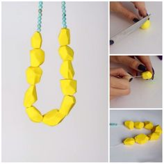 DIY for summer #diy #necklase #yellow #jewlery #ideas #stepbystep #handmade