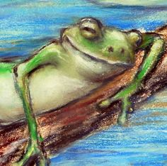 "Frog print art dragon fly nursery lily pond ""Are You Sleeping Little Frog"" by Laurie Shanholtzer"