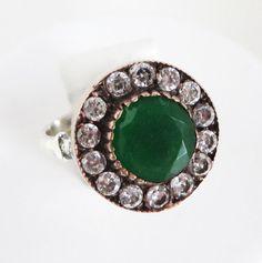 Vintage Emerald & CZ Sterling Silver Ring Size 6.5 by LeesStuff