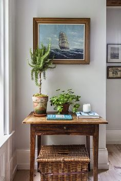 Rustic nautical vignette and with Art: http://www.completely-coastal.com/2015/03/Sag-Harbor-home-nautical-decorations.html