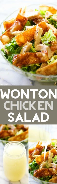 This Wonton Chicken Salad is a simple yet delicious salad that goes perfectly as a side or the star of the meal. The crisp wontons paired with chicken and the incredible dressing are such a tasty combination of flavors, ingredients and textures!