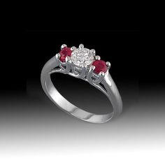 1.00 Cttw G SI1 Round Diamonds and Ruby 3 Stone Engagement Ring in 14K White…