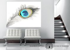 Large wall art. Large painting. Huge painting. Peacock by LydiaGee