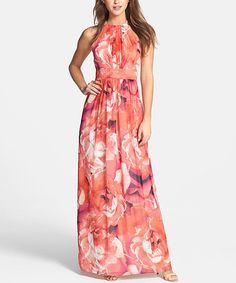 Look at this #zulilyfind! Red Floral Yoke-Neck Maxi Dress by HaoYouDuo #zulilyfinds