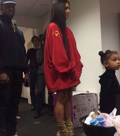 kanye west, kim kardashian, and north west image