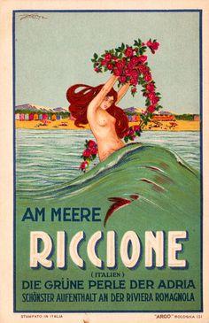 Riccione Liberty - La sirena della Perla Verde dell'Adriatico | vintage travel beach art deco poster #essenzadiriviera www.varaldocosmetica.it