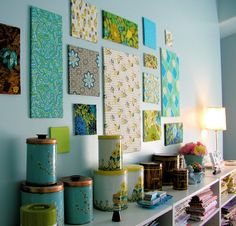 real cute idea fabric wall art..I have a large wall I would like to do this on