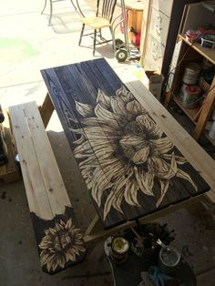 How to Stain a Lowe's Picnic Table Makeover, Memaw's Way DIY - Picnic table before and after furniture flip for summer. Try this awesome Lowe's picnic table fur - Furniture Projects, Furniture Makeover, Diy Furniture, Garden Furniture, Furniture Design, Office Furniture, Modern Furniture, Funky Painted Furniture, Fireplace Furniture