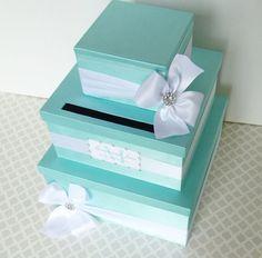 Tiffany Wedding Card Box | WEDDING CARD BOX Money Holder Aqua Tiffany Blue White Customizable ...