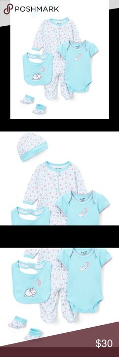 NWT Sweet And Soft 5 PC Layette Footie Onesie Set Blue Sheep Five-Piece Layette Set - Infant Sweet & Soft PRODUCT DESCRIPTION:  Outfit your little one with everything they need to enjoy the day with this adorable layette set.  Includes bodysuit, footie, beanie, socks and bib Beanie: 14'' circumference Bib: 8'' W x 10'' H 100% cotton Machine wash; tumble dry Imported Brand new with tags. Sweet and Soft Matching Sets