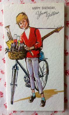 Vintage 1950s UNUSED Birthday Greeting Card Preppy Boy, Bike, Guitar, Soda Pop